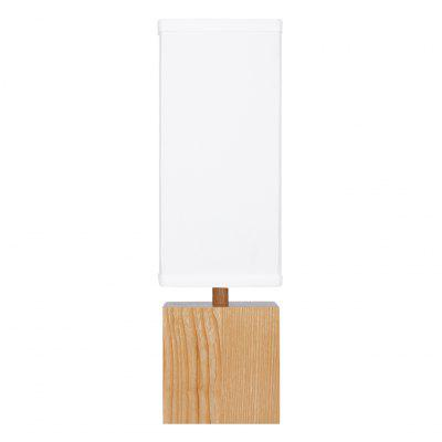 """(TABLE LAMP WOOD JAPAN) Finether 15"""" H Wood Table Lamp with Rectangular White Linen Shade for Table Desk Nightstand Entryway Living Room Bedroom Guestroom and Den"""