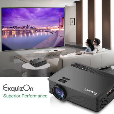 Exquizon LED GP12 Portable Projector 800*480P Support 1080P HDMI USB SD AV Connect  Black EU PLUG