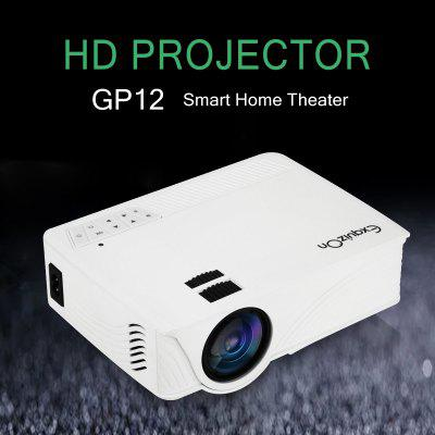 Exquizon LED GP12 Portable Projector 800*480P Support 1080P HDMI USB SD AV Connect  White EU PLUG