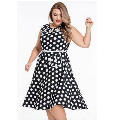 Buy BLACK 2016 New Simple Lacunal Retro Polka Dot Print Dress Womens Round Collar Sleeveless Full Circle Vintage Dress with Belt for $20.82 in GearBest store
