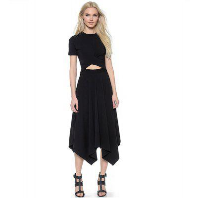 2016 new arrival fashion hollow cross waist woman irregular hem dress