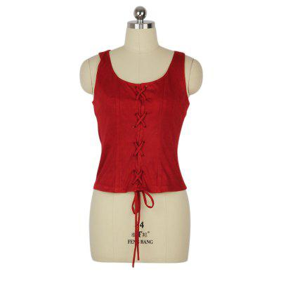 2016 Spring and summer short vest woman round collar and strap in the front design fashion sleeveless woman slipover tops