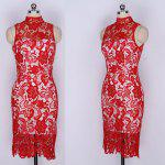 Buy 2016 Womens Sexy Dress Ladies Lace High Collar Elegant Red Waist Sleeveless Knew Length Backless Bodycon RED