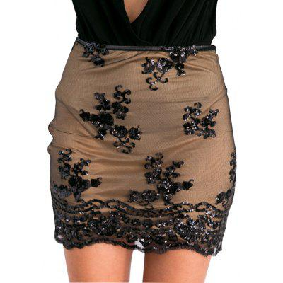 Buy BLACK Woman lace skirt new fashion sexy style womens high-rise side zipper and sequins on mesh design gauzy lace mini skirt with high-stretch lining for $12.93 in GearBest store