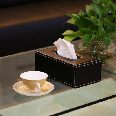 Finether Rectangular PU Leather Padded Top Tissue Box