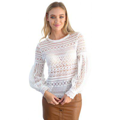 Woman tops smock new fashion casual sexy style womens crew neck keyhole at back long lantern sleeve and crochet-lace design smock