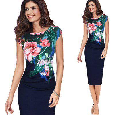 Elegant Vintage Dress Women Fashion Floral Flower Printed Retro Ruched Pinup Casual Party Sheath Special Occasion Bodycon Dress ingersoll in2817bk