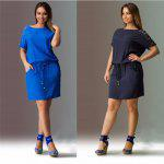 2016 Casual Style Round Neckline Bat Short Sleeve  Waist Drawstring Spliced Lace Design Loose-Fitting dress - AZUL ESCURO