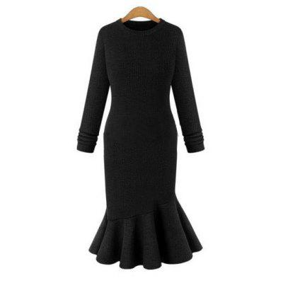 Buy BLACK 3XL Elegant Sweater Dress 2016 Fall New Arrival Womens Sexy Dress Long Sleeve Thicken Party Slim Fit Package Hip Knitted Fishtail Sweaters Dresses For Ladies  for $20.12 in GearBest store