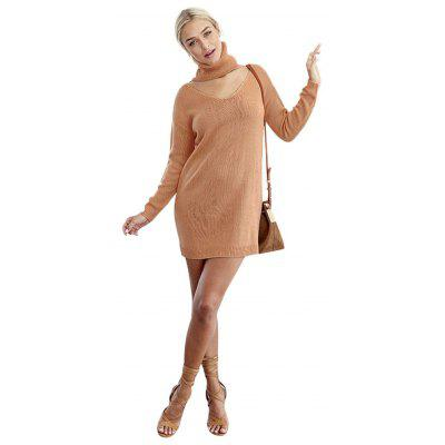 Woman shift sweater dress new fashion casual style dress womens high collar V-neck and long sleeve design solid color loose high-strench warm shift sweater dress