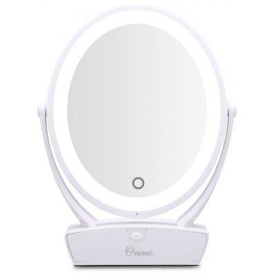 Ovonni Double Side 1X/5X Magnification LED Makeup Mirror Vanity Tabletop 360° Rotating Touch Screen LED Lighted Cosmetic Mirror