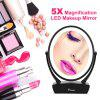Ovonni Double Side 1X/5X Magnification LED Makeup Mirror Vanity Tabletop 360° Rotating Touch Screen LED Lighted Cosmetic Mirror - BLACK