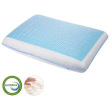 (PIL GEL MEMORY FOAM FLAT) LANGRIA Reversible Cooling Gel Pad CertiPUR-US Tested and Certified Memory Foam Bed Pillow with Zippered Mesh Fabric Cover