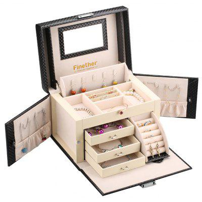 Rectangular Leather Jewelry Box Lockable Makeup Storage Case