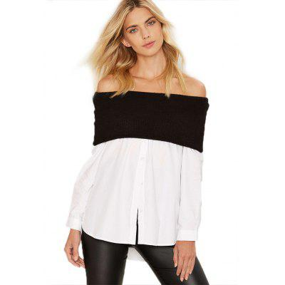 Woman tops new fashion casual style blouse womens sexy off-the-shoulder contrast materials splicing fine-knit fold-over neckline long sleeve and hi-lo curved hem design shirt