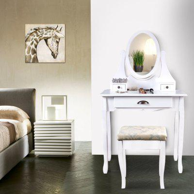 (DRESSING TABLE 2006 WHITE) LANGRIA Makeup Dressing Table Vanity and Stool Set with Adjustable Swivel Oval Mirror, 3 Drawers and Curved Solid Rubberwood Legs, White, LRDT-006WT