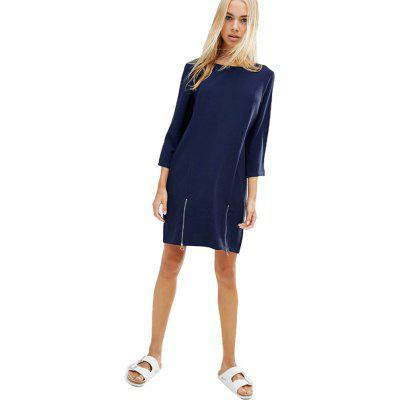 Buy NAVY M 2016 Autumn winter new arrival round neck zipper woman three quarter sleeve dress for $12.17 in GearBest store