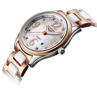 GUANQIN GQ90009 Steel Watch Casual Pearl Fritillaria Dial Watches Quartz Watch Ladies' Watch