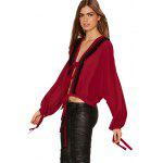 Buy Woman blouse new fashion casual style Blouse Womens lace-up front long batwing sleeves back opening design loose fringed linen tops WINE RED