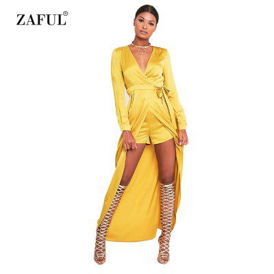 Woman rompers new fashion elegant style jumpsuit womens surplice V neckline long sleeve high-rise and hi-lo hem design siamese culottes with maxi skirt