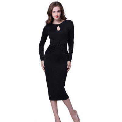 Buy BLACK XL Kenancy Retro Pencil Dress Elegant Water Droplets Hollow Round Neck Long-Sleeved Fold Dress For Workwear for $13.05 in GearBest store