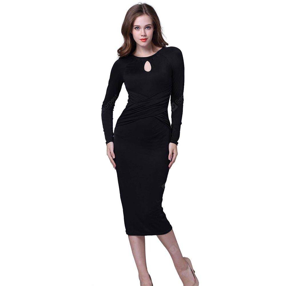 BLACK M Kenancy Retro Pencil Dress Elegant Water Droplets Hollow Round Neck Long-Sleeved Fold Dress For Workwear