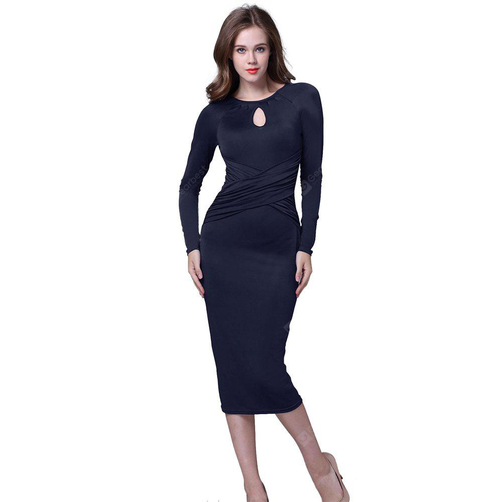 Kenancy Retro Pencil Dress Elegant Water Droplets Hollow Round Neck ...