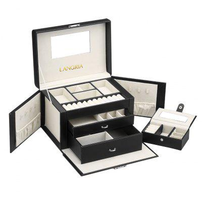 (JEWELRY BOX 604 BLACK) LANGRIA Matte Faux Leather Jewelry Box Lockable Makeup Storage Case Organizer with Lift-Up Lid, Mirror, Drawers, and Portable Mini Travel Jewelry case, BlackHooks &amp; Racks<br>(JEWELRY BOX 604 BLACK) LANGRIA Matte Faux Leather Jewelry Box Lockable Makeup Storage Case Organizer with Lift-Up Lid, Mirror, Drawers, and Portable Mini Travel Jewelry case, Black<br>