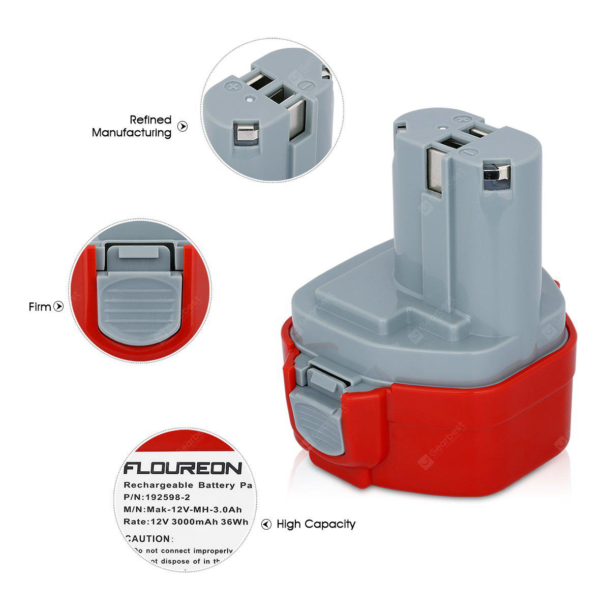 FLOUREON 12V 3000mAh Ni-MH Rechargeable Battery