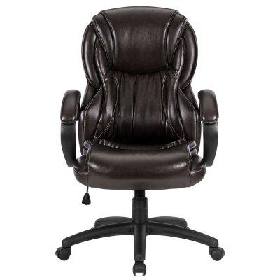 (DE ML-6217) LANGRIA Luxury Ergonomic Mid-Back Faux Leather Computer Executive Office Chair with Double Padded Backrest and Seat, Thick Padded Armrests, Adjustable Seat Height, Knee-Tilt Mechanism, 36