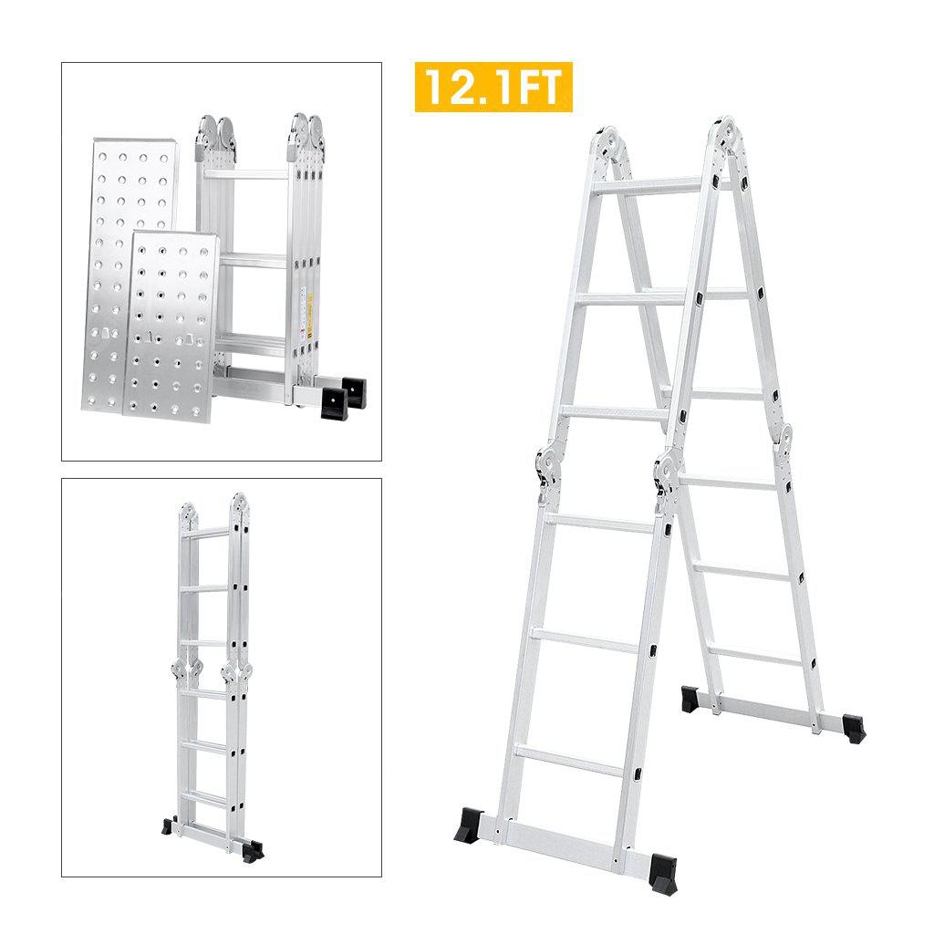(FOLD LADDER) Finether 12 1 ft 3 68 m EN131 Scaffold Extendable Heavy Duty  Multi-Purpose Folding Step Ladder Aluminum Folding Ladder with Safety