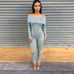 2016 new arrival summer sexy a word shoulder design woman casual style pure color jumpsuits - GRAY