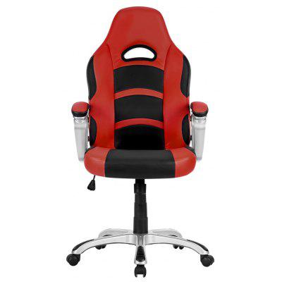 (US ML-7243 Office Chair) LANGRIA Ergonomic High-Back Faux Leather Racing Style Computer Gaming Executive Office Chair with Padded Armrest, Adjustable Height, 360 Degree Swivel, Red