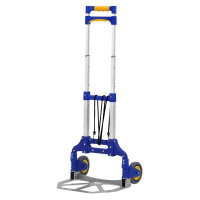 (TROLLEY BLUE) Finether Multi-Purpose Height-Adjustable Aluminum Folding 2-Wheel Hand Truck Dolly Sack Truck Trolley with Free Bungee Cord, Lightweight Portable Cart Trolley for Indoor Outdoor Travel