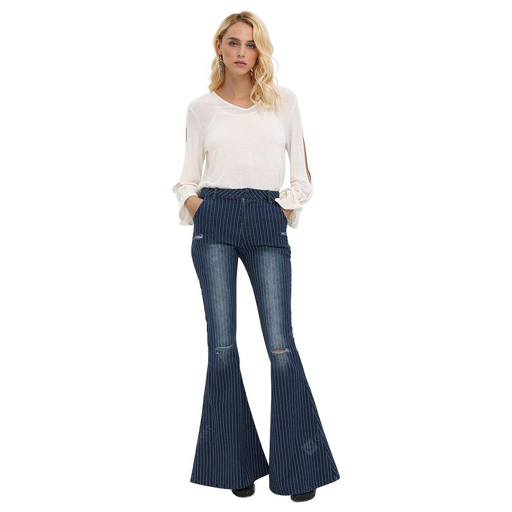DEEP BLUE XL Woman flare jeans 2016 new arrival fashion vintage style denim pants high-rise pinstripes destructed and fading design fit&flare jeans