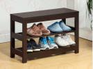 (US SHOE RACK) LANGRIA Shoe Rack Composite Wood 3-Tier Shoe Bench for Entryway Hall or Living Room, Red Cocoa Finish