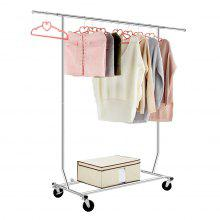 (GARMENT 1) LANGRIA Collapsible Adjustable Single Rail Rolling Garment Rack Clothing Rack Drying Hanging Rack, Chrome