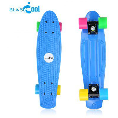 Blascool® Small Fish-Style Skateboard With Four Colorful Wheels, Complete Plastic Deck Board, 21.65 Inch, High Impact-Resistant & Non-slip, ABEC-7 Chrome Steel Bearings. 90kg Max Load. Perfect as A Gi