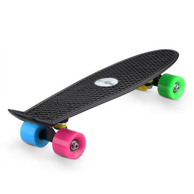 Blascool® Small Fish-Style Skateboard With Four Colorful Wheels, Complete Plastic Deck Board, 21.65 Inch, High Impact-Resistant & Non-slip, ABEC-7 Chrome Steel Bearings. 90kg Max Load. Perfect as A Gi complete skateboard for deck trucks wheels