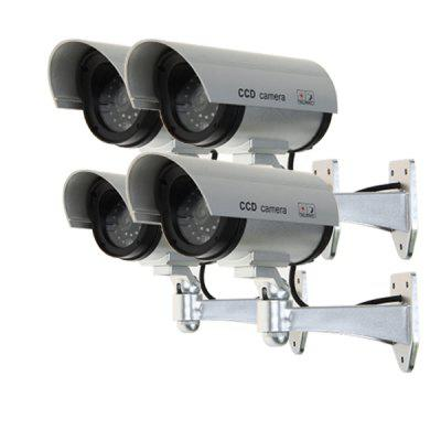 4*Silvery Outdoor Dummy Camera with LED Flash