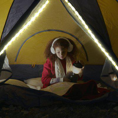 Excelvan LED Rope Lights,3pcs*AAA Battery Power Portable LED String Light That Doubles as an LED Lantern,6.5ft 2M 60leds,For Decoration Christmas ,Camping,Hiking,Emergencies,White.