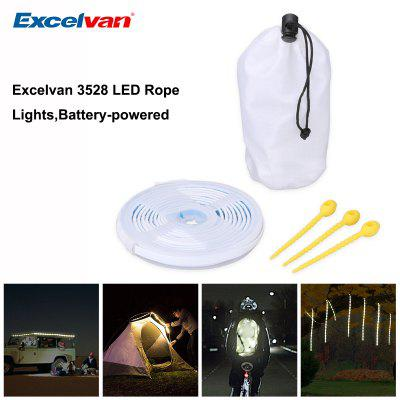 Excelvan LED Rope Lights,3pcs*AAA Battery Power Portable LED String Light That Doubles as an LED Lantern,9.84ft 3M 90leds,For Decoration Christmas ,Camping,Hiking,Emergencies,White.