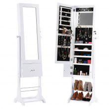 (JEWEL CAB 8318 WHITE) LANGRIA Free Standing Lockable Jewelry Cabinet Full-Length Mirrored Jewelry Armoire with LED Lights, Interior Mirror, Shoe Rack, Bottom Shelf, 3 Tilting Angle Adjustable Organiz