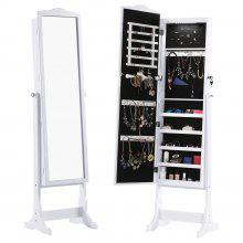 (JEWEL CAB 8416L WHITE) LANGRIA Free Standing Lockable Jewelry Cabinet Full-Length Mirrored Jewelry Armoire with LED Lights, 5 Shelves, 3 Tilting Angle Adjustable Organizer for Rings, Earrings, Bracel