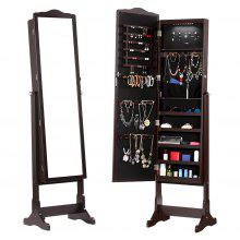 (JEWEL CAB 8416L BROWN) LANGRIA Free Standing Lockable Jewelry Cabinet Full-Length Mirrored Jewelry Armoire with LED Lights, 5 Shelves, 3 Tilting Angle Adjustable Organizer for Rings, Earrings, Bracel