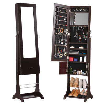 (JEWEL CAB 8318 BROWN) LANGRIA Free Standing Lockable Jewelry Cabinet Full-Length Mirrored Jewelry Armoire with LED Lights, Interior Mirror, Shoe Rack, Bottom Shelf, 3 Tilting Angle Adjustable Organiz