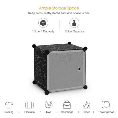 (CUBE 12 W/ DOOR CURL B&W) LANGRIA 12-Cube Curly Patterned Black Interlocking Modular Storage Organizer Shelving System Closet Wardrobe Rack with Translucent White Doors for Home Clothes Shoes Toys Kn от GearBest.com INT