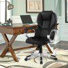 (DE ACA016 Office Chair)LANGRIA Modern Ergonomic High-Back Faux Leather Executive Office Chair with Knee Tilt Mechanism and 360 Degree Swivel, Black