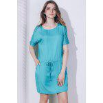 2016 Casual Style Round Neckline Bat Short Sleeve  Waist Drawstring Spliced Lace Design Loose-Fitting dress - VERT