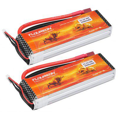 2x Floureon 3S 11.1V 3000mAh 30C Li-po RC Battery with Deans Plug for RC Car, Airplane, Boat, Quad, FPV 1pcs lion power 2s 7 4v 5200mah 30c lipo battery pack for rc car buggy monster truck backup li po battery